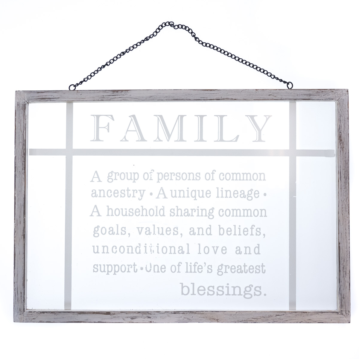"""""""Family"""" Hanging Glass Wall Decor"""