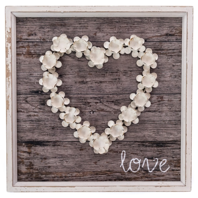Metal Flower Heart Wall Decor