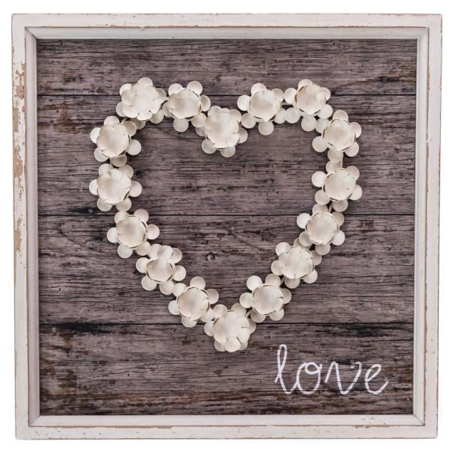 Metal Flower Heart Wall Decor