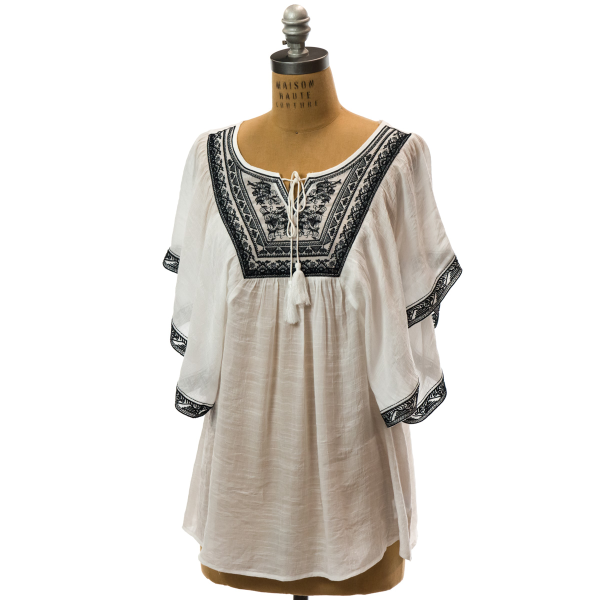 Embroidered Trim Flutter Tunic