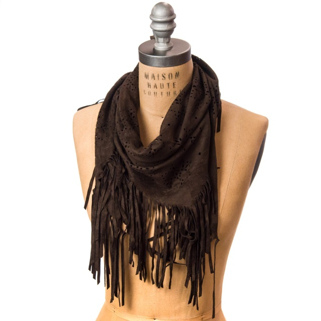 Faux Suede Cut-Out Scarf