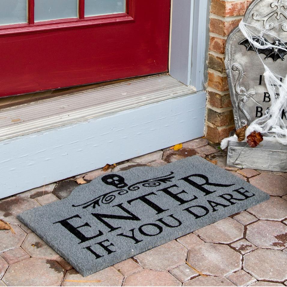 """Enter If You Dare"" Coir Doormat"