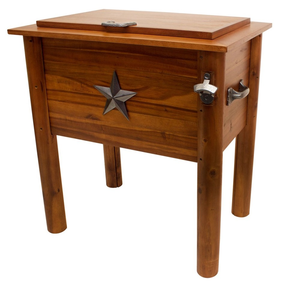 Amber-Log Wooden 56-Quart Cooler