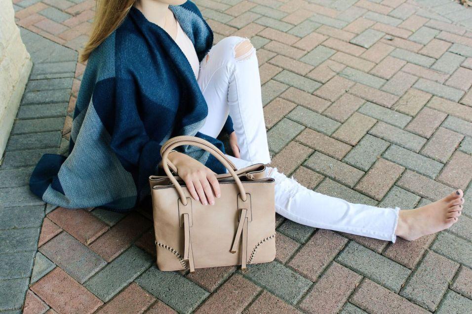 Blue Color Block Shawl / Taupe Bag