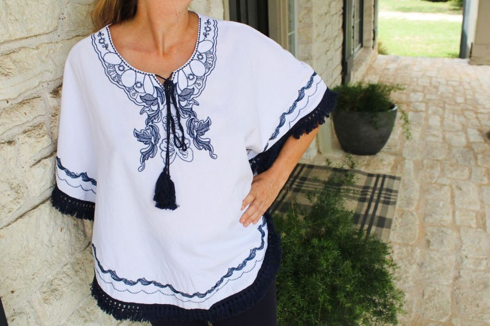 Blue and White Embroidered Poncho