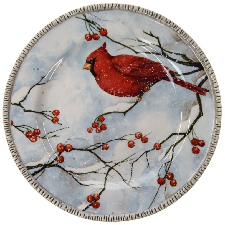 Winter Cardinal Stoneware Salad Plate - Berries and Bird