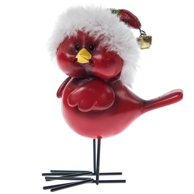 Cardinal in Striped Santa Hat Figurine