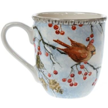Winter Cardinal Stoneware Mug - Berries and Pinecones
