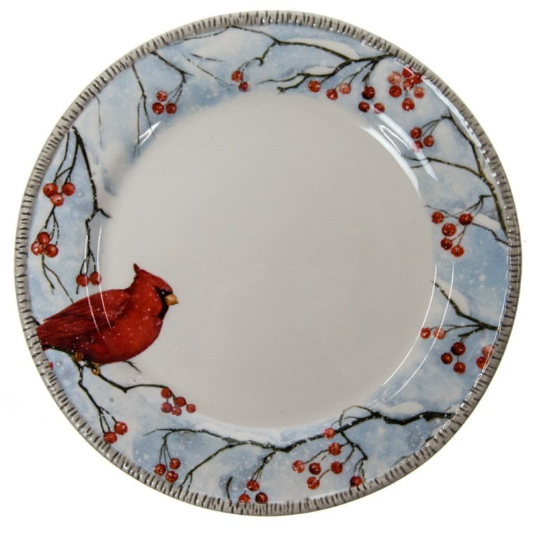 Winter Cardinal Stoneware Dinner Plate