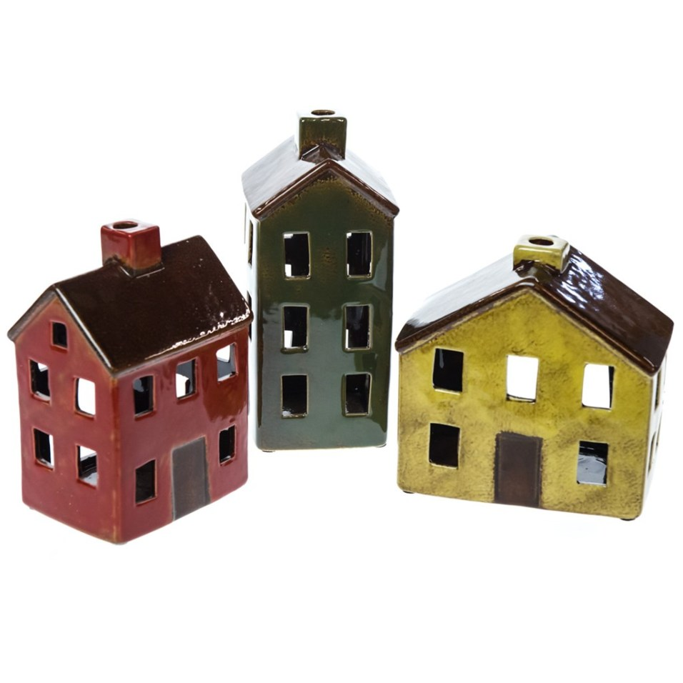 Stoneware Houses with LED Tealights 3-Piece Set