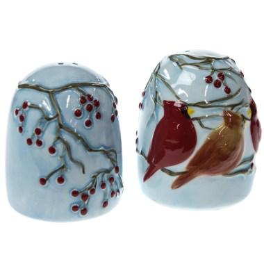 Winter Cardinal Stoneware Salt and Pepper Shaker Set