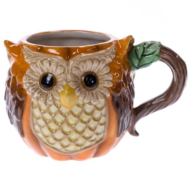 Stoneware Harvest Owl Mug