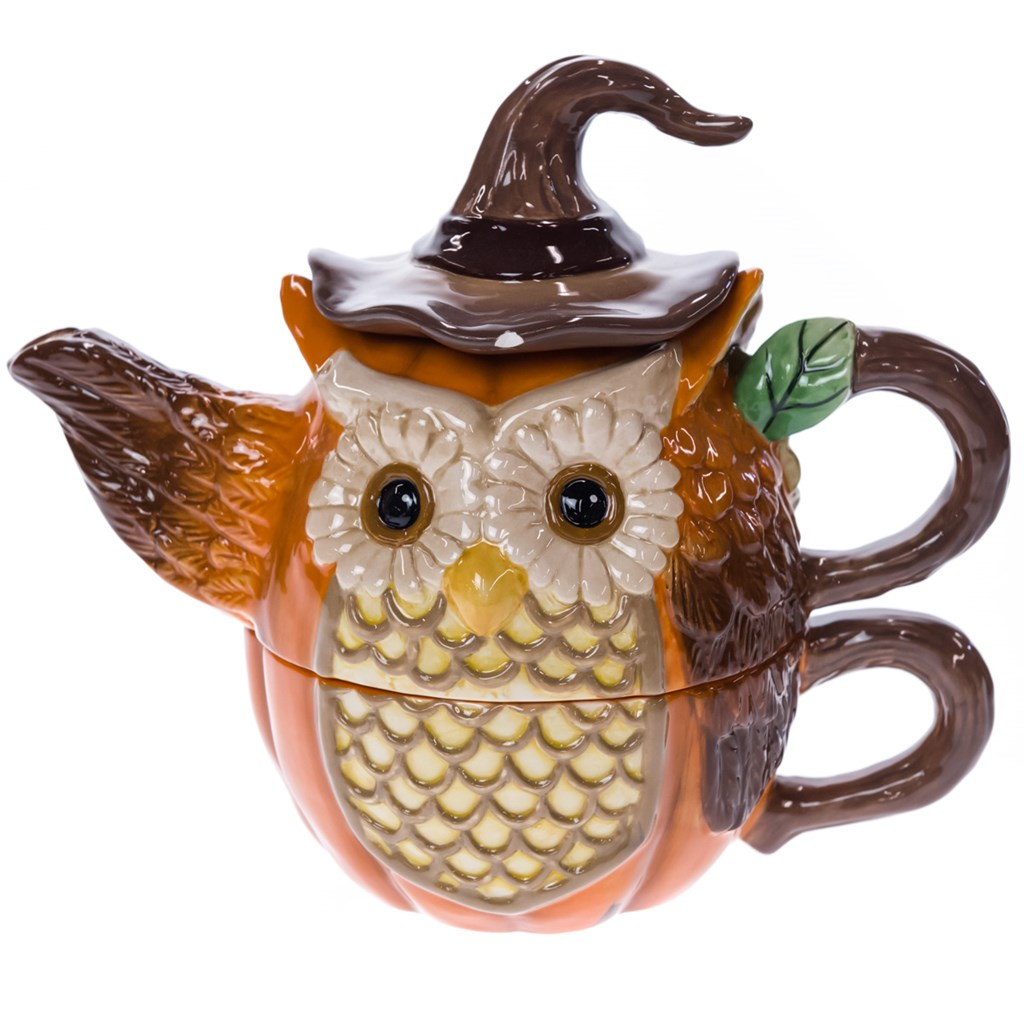 Stoneware Harvest Owl Tea for One Set