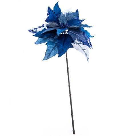 Blue Poinsettia Tree Pick