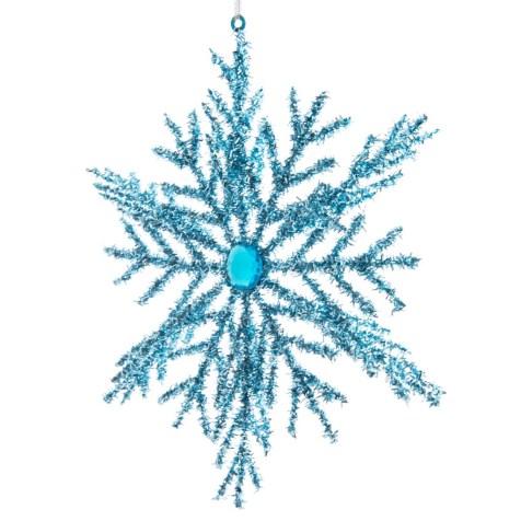 Blue Tinsel Snowflake Ornament