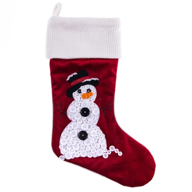 Button Snowman Stocking
