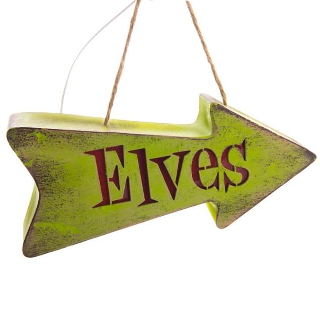 LED Elf Direction Sign Ornament