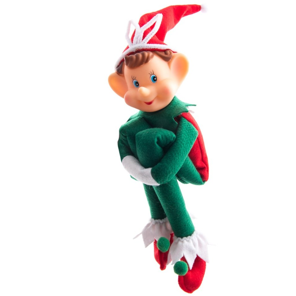 Fabric Elf with Red Hat Ornament