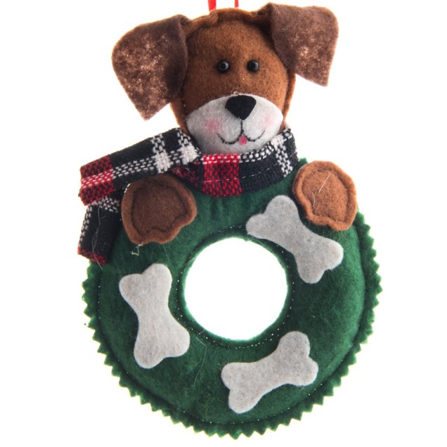 Felt Dog with Wreath Ornament