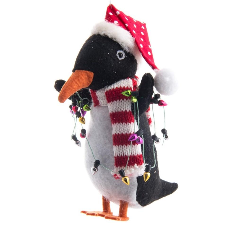 Felt Penguin with String Lights Ornament