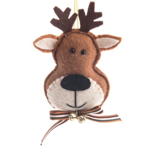 Felt Reindeer Head with Jingle Bell Ornament