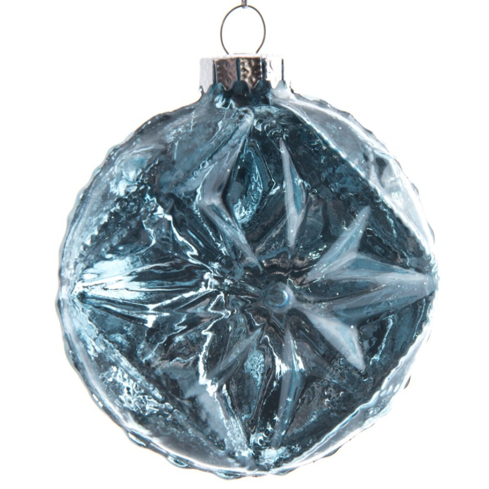 Blue Glass Flower Flat Ball Ornament