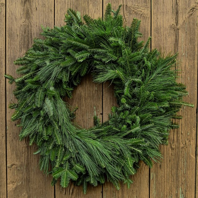 "Fresh 24-26"" Fraser Fir and White Pine Christmas Wreath"
