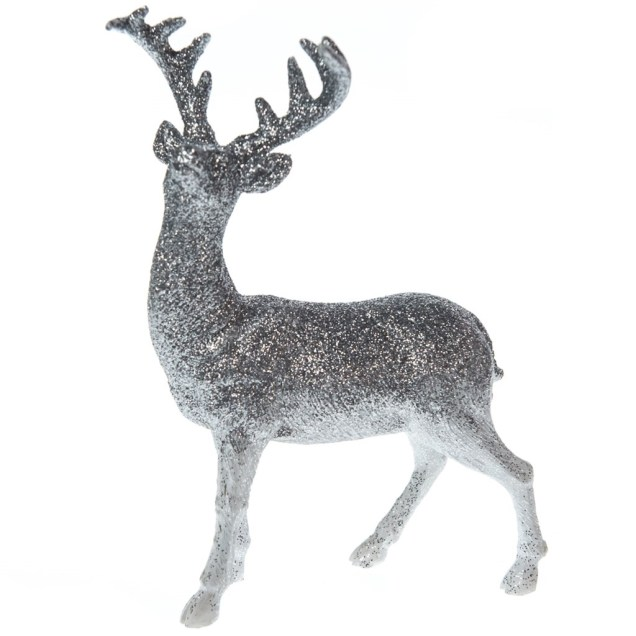 Silver Glitter Deer - Left-Facing
