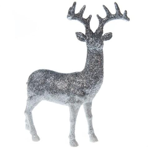 Silver Glitter Deer - Right-Facing