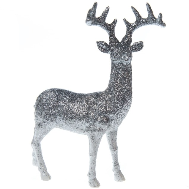 Silver Glitter Deer - Right-Facing