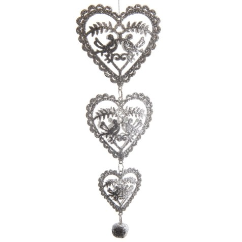 Glitter Hearts Dangling Ornament