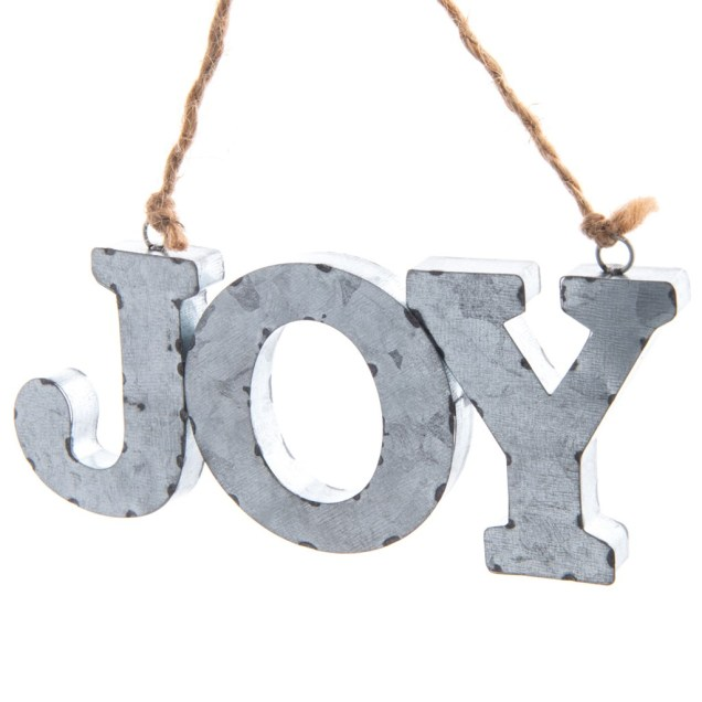 """Joy"" Galvanized Metal Ornament"
