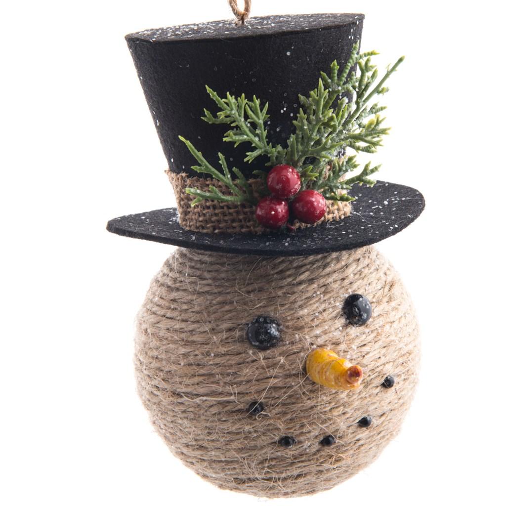 Jute Snowman Head Ornament