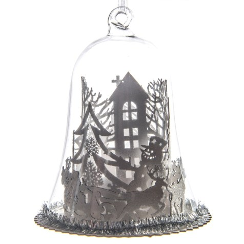LED Winter Village Glass Cloche Ornament