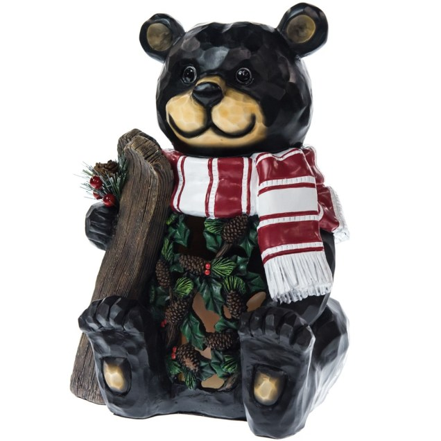 Light-Up Bear with LED Flicker Candle