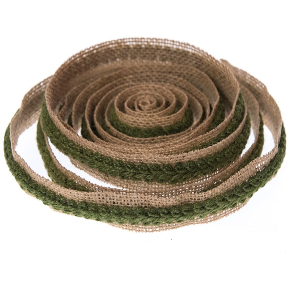 Natural Burlap with Green Rope Ribbon - 3 Yards