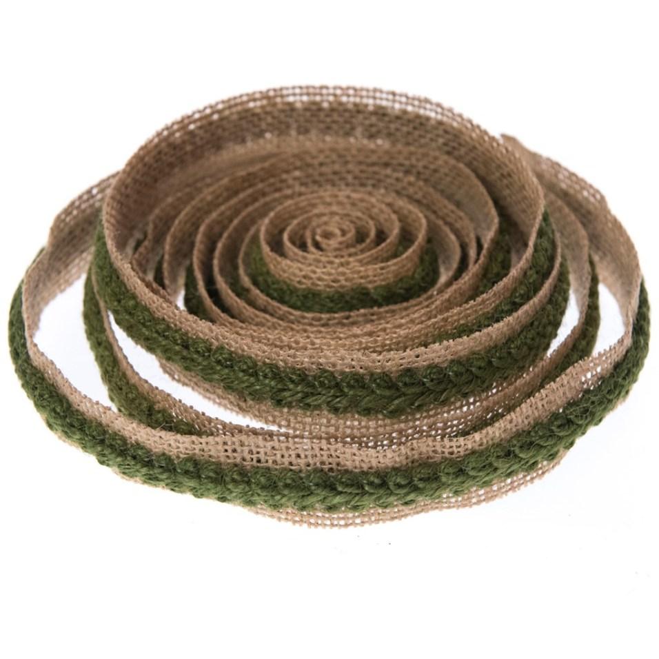 Natural Burlap with Green Rope Ribbon - 3 Yards
