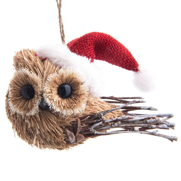 Owl with Santa Hat Ornament