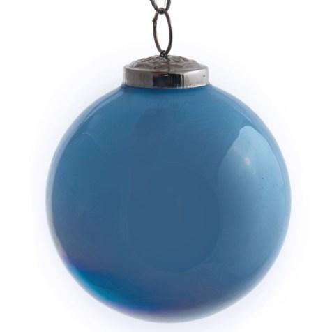 Pearlized Blue Glass Ball Ornament