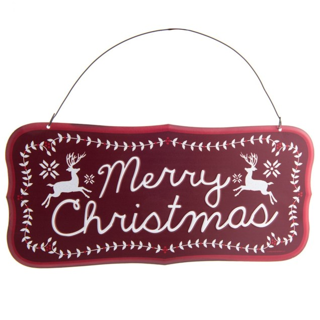 Red Merry Christmas Tin Sign Ornament