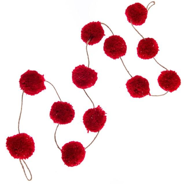 7' Red Pom Pom Garland