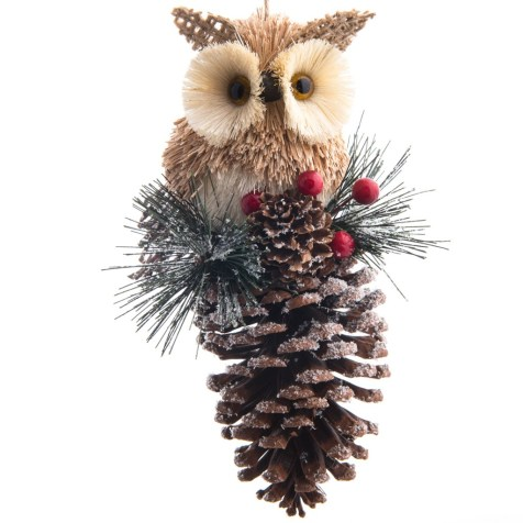 Sisal Owl on Pinecone Ornament