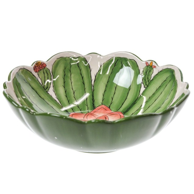 Stoneware Cactus Serving Bowl