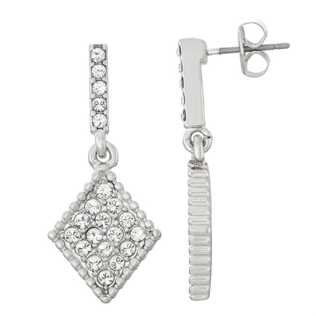 Swarovski Crystal Diamond Earring - Rhodium