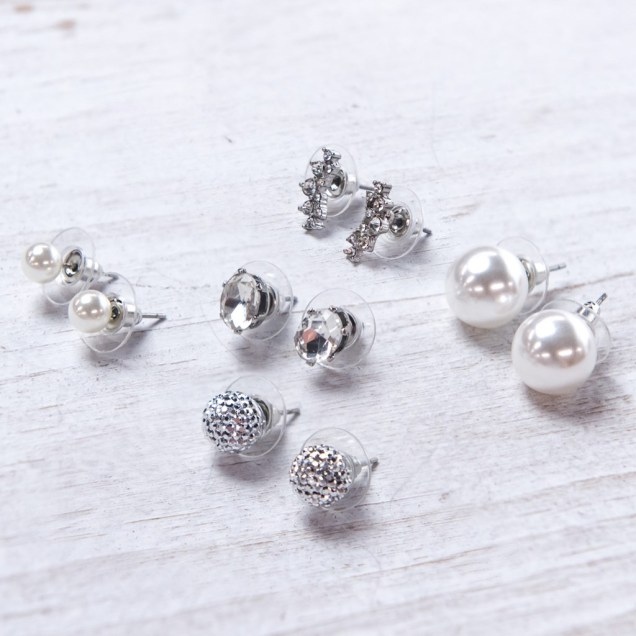 5-Piece Silver Stud Earring Set