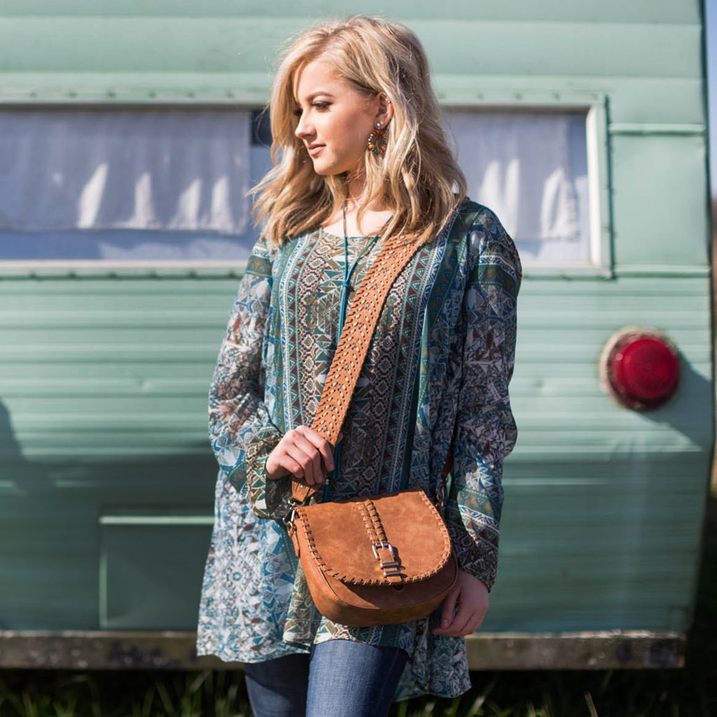 Turquoise Print Woven Tunic