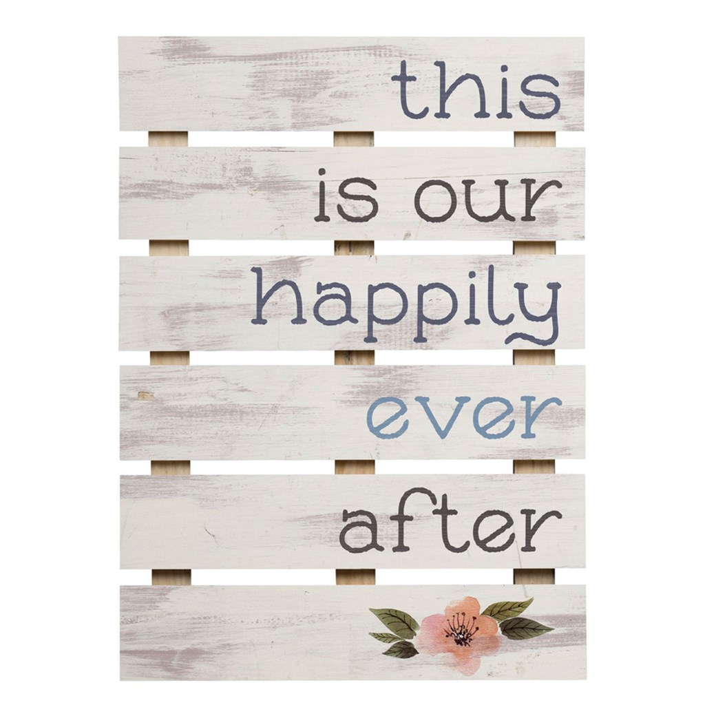 """This Is Our Happily Ever After"" Pine Slat Wall Decor"
