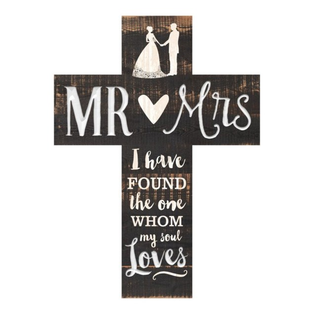 """Mr. and Mrs."" Pine Pallet Wall Cross"