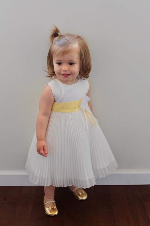 Yellow Sash Pleated Dress