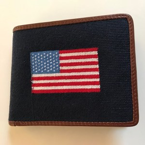 Leather and Needlepoint Wallet